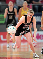 16.09.2012 Silver Ferns Camilla Lees in action during the first netball test match between the Silver Ferns and the Australian Diamonds played at the Hisense Arena In Melbourne. Mandatory Photo Credit ©Michael Bradley.