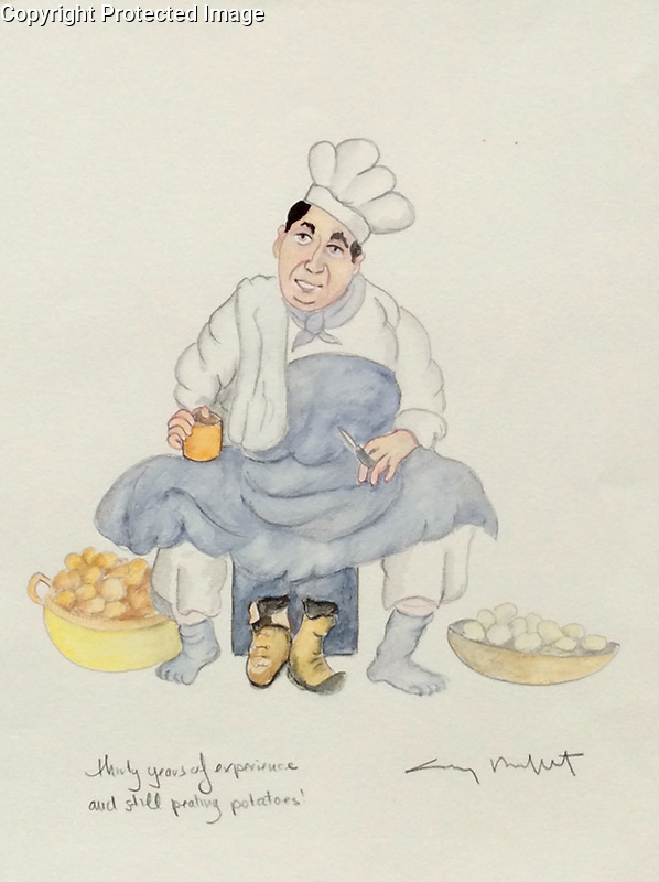 &quot;Thirty Years of Experience and Still Peeling Potatoes!&quot; 11x14 ORIGINAL Watercolor on Paper<br />