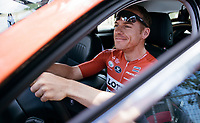 a goofin' Adam Hansen (AUS/Lotto-Soudal) in the teamcar at the stage start in the tiny birth town of Fausto Coppi: Castellania<br /> <br /> 100th Giro d'Italia 2017<br /> Stage 14: Castellania › Oropa (131km)