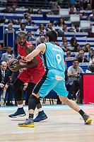 Movistar Estudiantes Edgar Viñedo and Montakit Fuenlabrada Christian Eyenga during Liga Endesa match between Movistar Estudiantes and Montakit Fuenlabrada at Wizink Center in Madrid, Spain. November 12, 2017. (ALTERPHOTOS/Borja B.Hojas) /NortePhoto.com