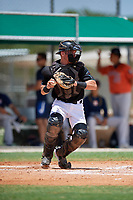GCL Marlins catcher Keegan Fish (7) throws down to second base during a Gulf Coast League game against the GCL Astros on August 8, 2019 at the Roger Dean Chevrolet Stadium Complex in Jupiter, Florida.  GCL Marlins defeated GCL Astros 5-4.  (Mike Janes/Four Seam Images)