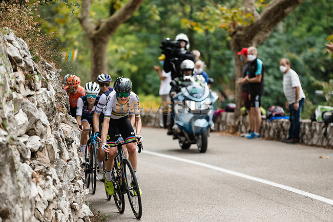 World Champion Annemiek Van Vleuten (NED) Mitchelton-Scott attacks on Côte de Rimiez by Elisa Longo Borghini (ITA) and Elizabeth Deignan (GBR) Trek-Segafredo during La Course By Le Tour de France 2020, running 96km from Nice to Nice, France. 29th August 2020.<br /> Picture: ASO/Thomas Maheux | Cyclefile<br /> All photos usage must carry mandatory copyright credit (© Cyclefile | ASO/Thomas Maheux)