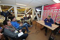 SCHAATSEN: HEERENVEEN: Thialf, Essent ISU World Cup, 03-03-2012, topsport manager Arie Koops tijdens KNSB persbijeenkomst, ©foto: Martin de Jong