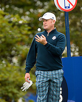 23.09.2014. Gleneagles, Auchterarder, Perthshire, Scotland.  The Ryder Cup.  Jamie Donaldson (EUR) on the 18th during his practice round.