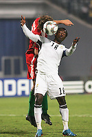 Ghana's Ransford Osei (18) has a header pushed bast him by Hungary's Janos Szabo (2) during the FIFA Under 20 World Cup Semi-final match at the Cairo International Stadium in Cairo, Egypt, on October 13, 2009. Costa Rica won the match 1-2 in overtime play. Ghana won the match 3-2.