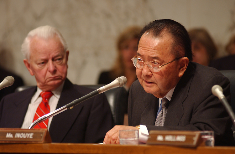 terrorism7/041102 -- Daniel K. Inouye, D-HI., and Robert Byrd, D-W.Va., during the full committee hearing on Terrorism Overview.