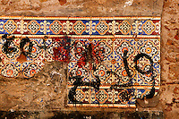 "Detail of mosaics covered with painted graffitis,  old city, Portuguese Fortified city of Mazagan, El Jadida, Morocco. El Jadida, previously known as Mazagan (Portuguese: Mazag""o), was seized in 1502 by the Portuguese, and they controlled this city until 1769. Picture by Manuel Cohen"