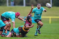 Ben Christie of Ampthill Rugby is tackled during the Greene King IPA Championship match between Ampthill RUFC and Nottingham Rugby on Ampthill Rugby's Championship Debut at Dillingham Park, Woburn St, Ampthill, Bedford MK45 2HX, United Kingdom on 12 October 2019. Photo by David Horn.