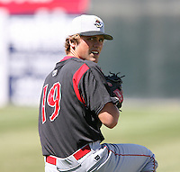 2007:  Matt German of the Williamsport Crosscutters, Class-A affiliate of the Philadelphia Phillies, during the New York-Penn League baseball season.  Photo By Mike Janes/Four Seam Images