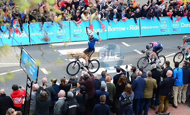 Home hero Harry Tanfield (GBR) Harry Tanfield Canyon -Eisberg from the breakaway group in action during Stage 1 of the Tour de Yorkshire 2018 running 182km from Beverley to Doncaster, England. 3rd May 2018.<br /> Picture: ASO/Alex Broadway | Cyclefile<br /> <br /> <br /> All photos usage must carry mandatory copyright credit (© Cyclefile | ASO/Alex Broadway)