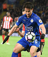 Shinji Okazaki of Leicester City during the Premier League match between Leicester City v Sunderland played at King Power Stadium, Leicester on 4th April 2017.<br /> <br /> <br /> available via IPS Photo Agency only