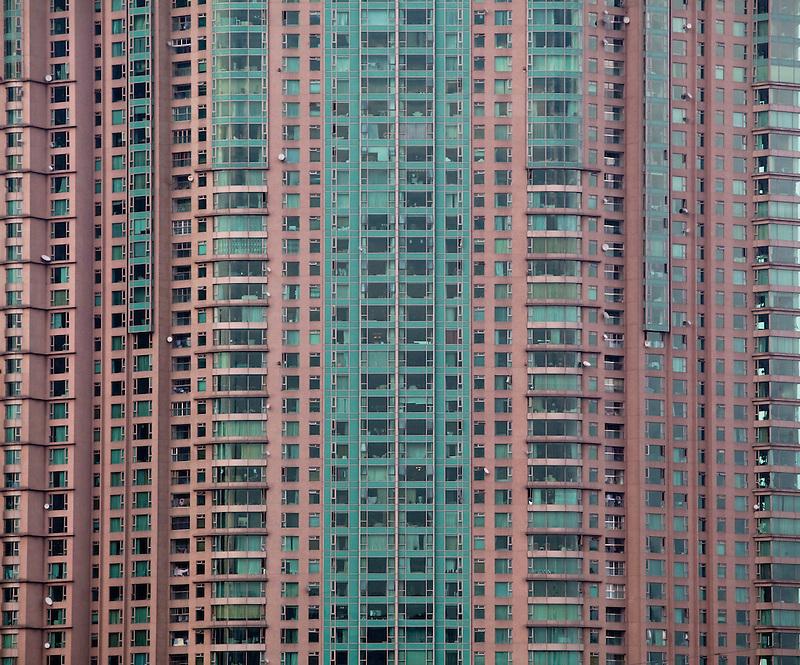 A high-rise apartment building is seen in Shanghai.