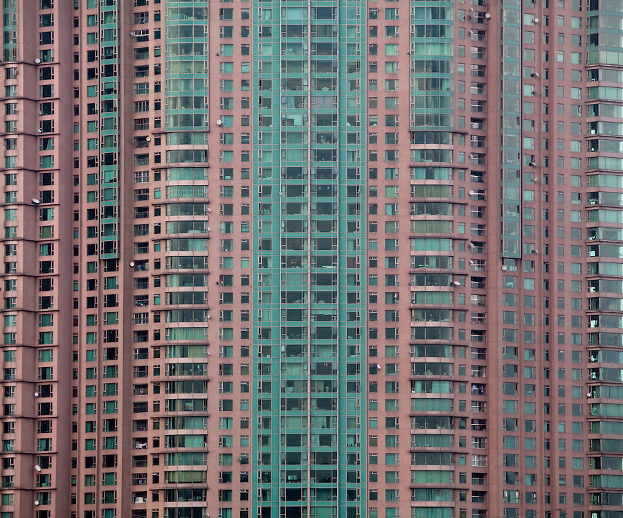 A high-rise apartment building is seen in Shanghai.