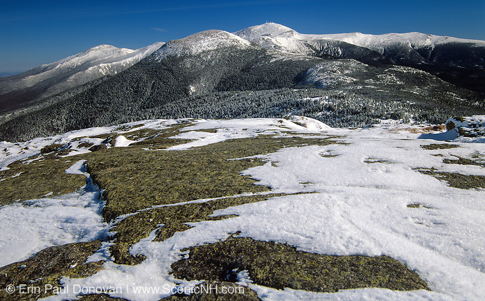 Mount Eisenhower (center), Mount Washington (center behind) and Mount Jefferson (left) from Mount Pierce in the White Mountains, New Hampshire USA during the winter months.