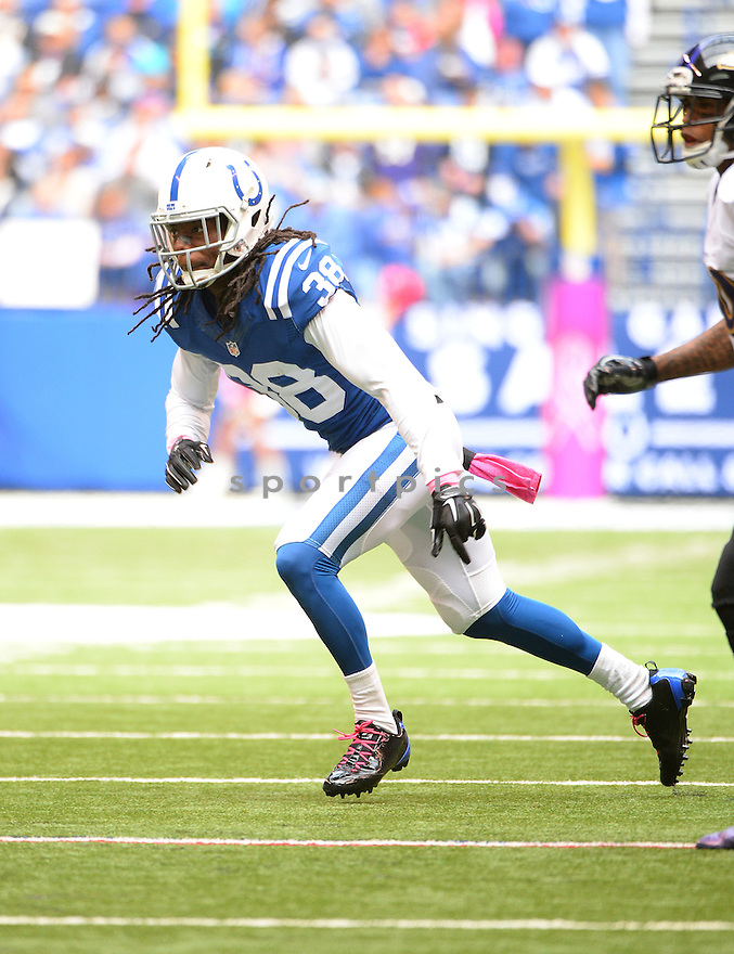Indianapolis Colts Sergio Brown (38) during a game against the Baltimore Ravens on October 5, 2014 at Lucas Oil Stadium in Indianapolis, IN. The Colts beat the Ravens 20-13.