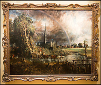 BNPS.co.uk (01202 558833)<br /> Pic: TomWren/BNPS<br /> <br /> The real deal... Constable's Salisbury Cathedral from the Meadows which he painted in 1831.<br /> <br /> Lego-lovers have recreated one of John Constable's most famous paintings with 65,000 tiny building blocks. <br /> <br /> The unusual replica of Constable's 1831 work 'Salisbury Cathedral from the Meadows' has been put together in celebration of the original's arrival at the Salisbury Museum in Wiltshire. <br /> <br /> About 800 volunteers flocked to the museum earlier this week to empty out the giant sacks of Lego and put the puzzle together
