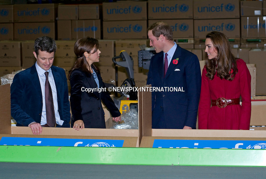 "PRINCE WILLIAM & CATHERINE ,CROWN PRINCE FREDERIK AND CROWN PRINCESS MARY.visit the UNICEF emergency supply centre in Copenhagen, to view efforts to distribute emergency food and medical supplies to the drought striken area of East Africa that affects over 13 million people_02/11/2011.Mandatory Credit Photo: ©Dias/NEWSPIX INTERNATIONAL..**ALL FEES PAYABLE TO: ""NEWSPIX INTERNATIONAL""**..IMMEDIATE CONFIRMATION OF USAGE REQUIRED:.Newspix International, 31 Chinnery Hill, Bishop's Stortford, ENGLAND CM23 3PS.Tel:+441279 324672  ; Fax: +441279656877.Mobile:  07775681153.e-mail: info@newspixinternational.co.uk"