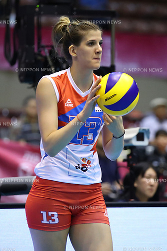 Ana Bjelica (SRB), <br /> JULY 16, 2017 - Volleyball : FIVB Volleyball World Grand Prix SENDAI 2017 match between <br /> Serbia 3-1 Thailand <br /> at Kamei Arena Sendai, in Sendai, Japan. <br /> (Photo by Sho Tamura/AFLO)