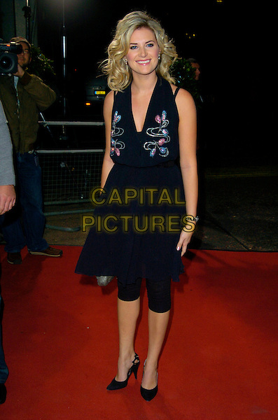"SARAH JANE DUNN.Celebrity Guests attend ""Another Audience with Al Murray - Pub Landlord"" at London ITV Studios, South Bank, London, England, October 21st 2007. .full length black halterneck dress leggings jayne.CAP/CAN.©Can Nguyen/Capital Pictures"
