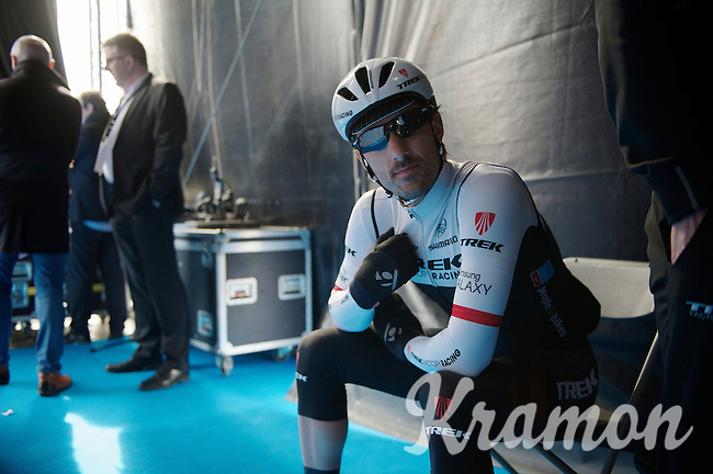 Fabian Cancellara (SUI/TREK Factory Racing) waiting backstage on the start podium of the 58th E3 Harelbeke 2015