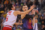 League ACB-ENDESA 2017/2018 - Game: 20.<br /> FC Barcelona Lassa vs Retabet Bilbao Basket: 90-58.<br /> Ricardo Fisher vs Victor Clave.