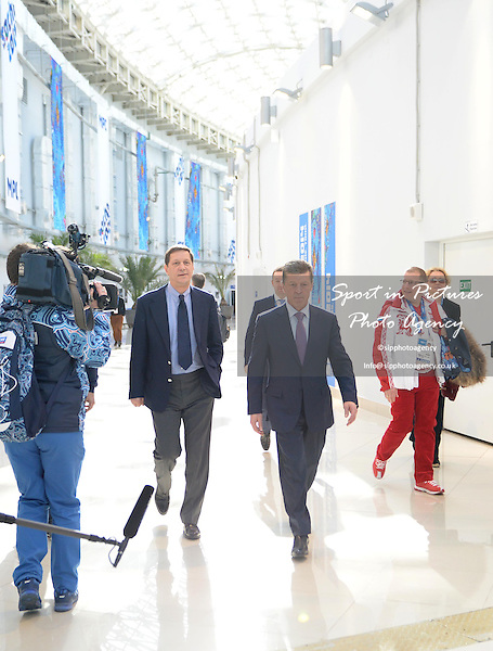 Dmitry Kozak (Deputy Prime Minister of the Russian Federation) tours the Main Press Centre (MPC) at the Sochi 2014 winter olympic games - PHOTO: Mandatory by-line: Garry Bowden/SIPPA/Pinnacle - Photo Agency UK Tel: +44(0)1363 881025 - Mobile:0797 1270 681 - VAT Reg No: 768 6958 48 - 06/02/2014 - 2014 WINTER OLYMPICS - Sochi, Russia