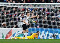 5th January 2020; Selhurst Park, London, England; English FA Cup Football, Crystal Palace versus Derby County; Chris Martin of Derby County celebrates after scoring his sides 1st goal in the 32nd minute to make it 0-1 - Strictly Editorial Use Only. No use with unauthorized audio, video, data, fixture lists, club/league logos or 'live' services. Online in-match use limited to 120 images, no video emulation. No use in betting, games or single club/league/player publications
