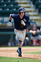 Charlotte Stone Crabs first baseman Brendan McKay (31) runs to first after hitting double down the line during a game against the Bradenton Marauders on June 3, 2018 at LECOM Park in Bradenton, Florida.  Charlotte defeated Bradenton 10-1.  (Mike Janes/Four Seam Images)