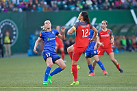 Portland, OR - Saturday May 06, 2017: Beverly Yanez, Christine Sinclair during a regular season National Women's Soccer League (NWSL) match between the Portland Thorns FC and the Chicago Red Stars at Providence Park.