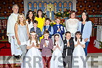 The pupils from Raheen NS at their First Holy Communion in St Agathas church Glenflesk on Saturday front row l-r: Sarah warren, Conor Warren, Caoimhe Cronin, Sean O'Sullivan, Anna Roche. Back row: Patrick Mullane, Oscar Lovett, Dylan Brosnan. Back row: Lucy O'Sullivan, Norissa O'Donoghue, joan Mullane Principal, Ann Kelliher and Caoimhe Kissane