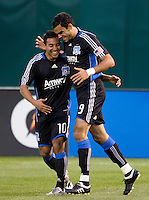 18 April 2009: Pablo Campos of the Earthquakes celebrates with Arturo Alvarez of the Earthquakes after Campos scored a goal during the first half of the game against the Galaxy at Oakland-Alameda County Coliseum in Oakland, California.   Earthquakes and Galaxy are tied 1-1.