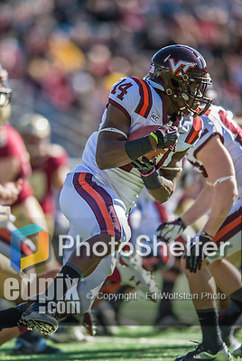 2 November 2013: Virginia Tech Hokies running back Trey Edmunds (14) rushes for short yardage in the first quarter against the Boston College Eagles at Alumni Stadium in Chestnut Hill, MA. Mandatory Credit: Ed Wolfstein-USA TODAY Sports *** RAW (NEF) Image File Available ***