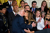 United States President Donald J. Trump hugs first lady Melania Trump after the first lady spoke about combatting drug demand and the opioid crisis in the East Room of the White House on Thursday October 26th, 2017 in Washington, D.C.<br />  Credit: Alex Edelman / CNP