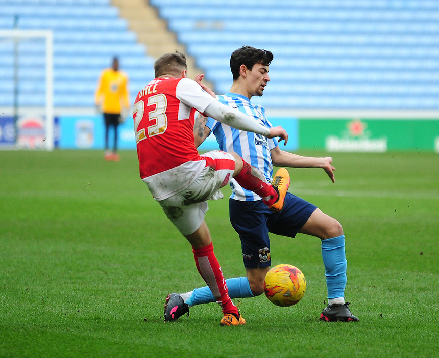 Coventry City's Ruben Lameiras vies for possession with Fleetwood Town's David Ball<br /> <br /> Photographer Andrew Vaughan/CameraSport<br /> <br /> Football - The Football League Sky Bet League One - Coventry City v Fleetwood Town - Saturday 27th February 2016 - Ricoh Stadium - Coventry   <br /> <br /> &copy; CameraSport - 43 Linden Ave. Countesthorpe. Leicester. England. LE8 5PG - Tel: +44 (0) 116 277 4147 - admin@camerasport.com - www.camerasport.com