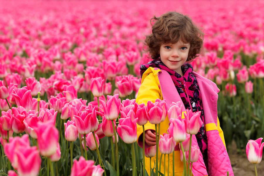 Girl standing in field of pink tulips, Skagit Valley, Washington, USA