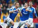 St Johnstone v Hearts..15.12.12      SPL.Rowan Vine celebrates his goal with Liam Craig.Picture by Graeme Hart..Copyright Perthshire Picture Agency.Tel: 01738 623350  Mobile: 07990 594431