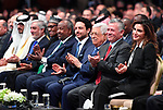 Palestinian President Mahmoud Abbas, Jordan's King Abdullah, and Jordan's Queen Rania attend the opening ceremony of the World Economic Forum on the Middle East and North Africa 2019, at the King Hussein Convention Centre at the Dead Sea, Jordan April 6, 2019. Photo by Thaer Ganaim