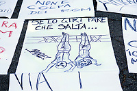 "A banner referred to the cartoon shared on Twitter by actor-turned-political-cartoonist Jim Carrey showing her grandfather and his lover Claretta Petacci strung up in Milan's Piazza Loreto after their execution by Italian partisans in 1945 and captioned ""this is where fascism leads"". The banner repeats Jim Carey's answer to the Mussolini's grandaughter: She can always flip the cartoon upside down. And it looks like her grandfather is jumping for joy.<br /> Rome April 6th 2019. Counterdemonstration of activists from the anti-fascist movements in the Torre Maura district of Rome, two days after Rome residents and neo-fascists burned bins and shouted racist slogans at Roma families being temporarily hosted in their neighbourhood. <br /> photo di Samantha Zucchi/Insidefoto"