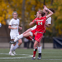 Marist College forward/midfielder Amanda Epstein (24) and Boston College midfielder Zoe Lombard (20) battle for the ball. Boston College defeated Marist College, 6-1, in NCAA tournament play at Newton Campus Field, November 13, 2011.