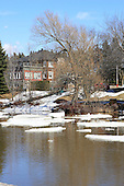 L'Assomption rive in Joliette,Quebec in spring with large chunks of ice