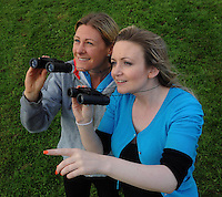 18-08-2013: Catriona McEnery, Causeway, Co. Kerry and Joanie McAuliffe, Kiskeam, Co. Cork, keeping a close eye on the Rose of Tralee SkyFest Air Display at the Tralee Bay Wetlands Centre on Sunday .Picture: Eamonn Keogh (MacMonagle, Killarney)