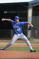 Kyle Cody (23) of the Kentucky Wildcats pitches during a game against the UC Santa Barbara Gauchos at Caesar Uyesaka Stadium on March 20, 2015 in Santa Barbara, California. UC Santa Barbara defeated Kentucky, 10-3. (Larry Goren/Four Seam Images)
