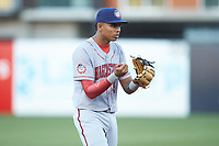 Hagerstown Suns third baseman Gilbert Lara (6) on defense against the Greensboro Grasshoppers at First National Bank Field on April 6, 2019 in Greensboro, North Carolina. The Suns defeated the Grasshoppers 6-5. (Brian Westerholt/Four Seam Images)