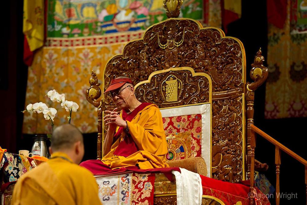 The Dalai Lama giving Kalachakra teachings at the Verizon center, 2011.
