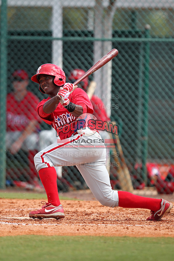 Philadelphia Phillies second baseman Albert Cartwright #13 during an Instructional League game against the Pittsburgh Pirates at Pirate City on October 11, 2011 in Bradenton, Florida.  (Mike Janes/Four Seam Images)