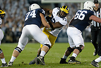 STATE COLLEGE, PA - OCTOBER 21:  Michigan DT Maurice Mo Hurst (73) fights off a block. The Penn State Nittany Lions defeated the Michigan Wolverines 42-13 on October 21, 2017 at Beaver Stadium in State College, PA. (Photo by Randy Litzinger/Icon Sportswire)