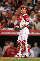 Hank Congor #16 of the Los Angeles Angels catches against the Cleveland Indians at Angel Stadium in Anaheim,California on April 11, 2011. Photo by Larry Goren/Four Seam Images
