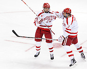 Jakob Forsbacka Karlsson (BU - 23), Charlie McAvoy (BU - 7) - The Boston University Terriers defeated the visiting University of Connecticut Huskies 4-2 (EN) on Saturday, October 24, 2015, at Agganis Arena in Boston, Massachusetts.