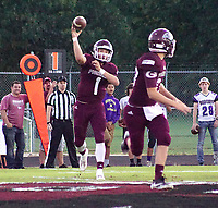Photo by Randy Moll<br /> Jon Falkenberry, Gentry quarterback, throws the ball to Tanner Christie in first-quarter play of the Gentry-Berryville game on Friday night in Gentry.