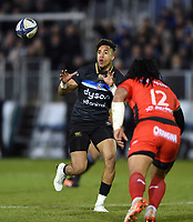 Anthony Watson of Bath Rugby receives the ball. European Rugby Champions Cup match, between Bath Rugby and RC Toulon on December 16, 2017 at the Recreation Ground in Bath, England. Photo by: Patrick Khachfe / Onside Images